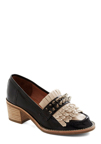 Dressed to Kiltie Heel by Jeffrey Campbell - Black, Tan / Cream, Solid, Studs, Menswear Inspired, Mid, Leather, Luxe, Statement