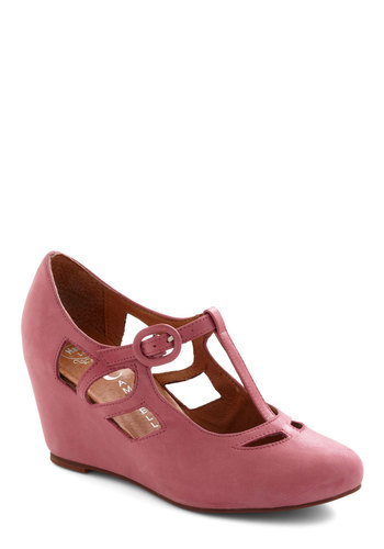 Pane and Simple Wedge in Rose by Jeffrey Campbell - Pink, Solid, Mid, Wedge, Cutout, Party, Work, Vintage Inspired, Luxe, Variation, Best, T-Strap