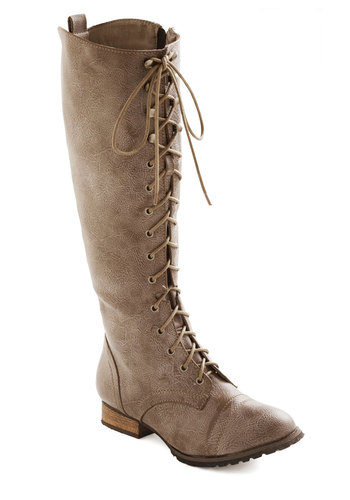 Crossing Borders Boot in Ice - Grey, Solid, Military, Lace Up, Winter, Low, Faux Leather, Steampunk