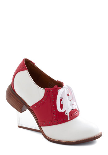 I Can Spree Clearly Now Wedge by Jeffrey Campbell - White, Solid, Menswear Inspired, High, Wedge, Lace Up, Leather, Red, Work