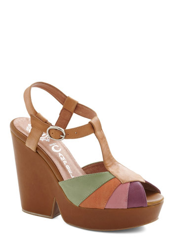 Smoothie Party Heel by Jeffrey Campbell - Tan, Multi, Solid, 70s, High, Wedge, Leather, Summer