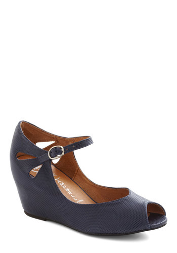 Hello Darling Wedge in Navy by Jeffrey Campbell - Blue, Solid, Cutout, Mid, Wedge, Peep Toe, Leather, Party, Work, Vintage Inspired, Nautical, 60s
