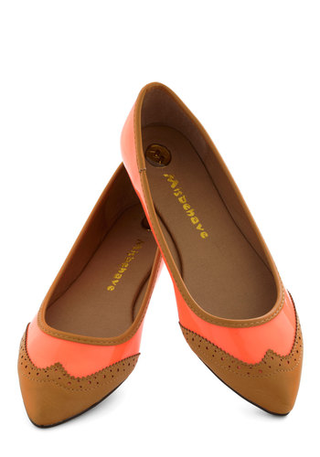Wow and Then Flat - Brown, Solid, Cutout, Trim, Menswear Inspired, Coral, Work, Coral