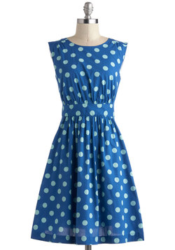 Too Much Fun Dress in Blue Dots