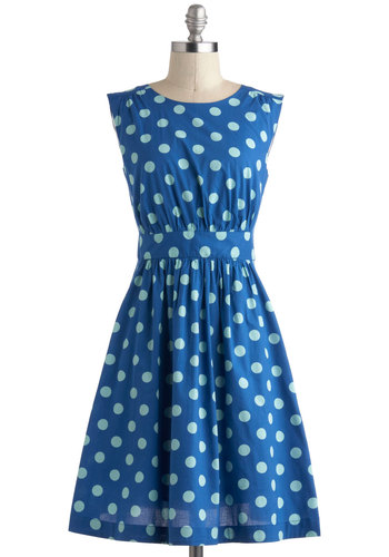 Too Much Fun Dress in Blue Dots by Emily and Fin - International Designer, Cotton, Mid-length, Blue, Polka Dots, Pleats, Pockets, Casual, A-line, Sleeveless, Daytime Party, Vintage Inspired, Variation, Pinup, Top Rated