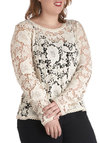 Best in Snow Top in Plus Size - Cotton, Sheer, Cream, Lace, Work, Vintage Inspired, French / Victorian, Long Sleeve
