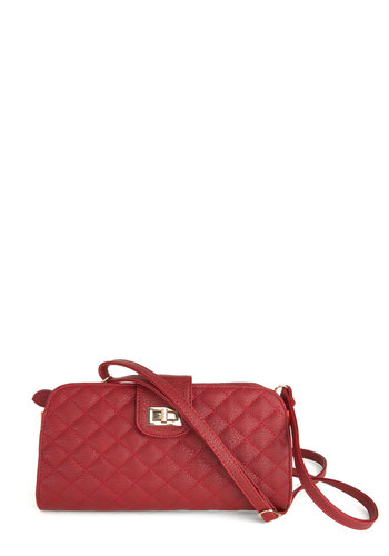 Cultural Classic Clutch - Red, Solid, Quilted, Vintage Inspired