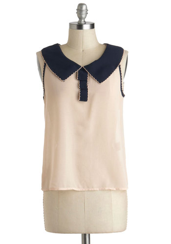 Place to Collar My Own Top - Sheer, Short, Cream, Blue, Solid, Peter Pan Collar, Scallops, Trim, Work, Vintage Inspired, Sleeveless, Collared