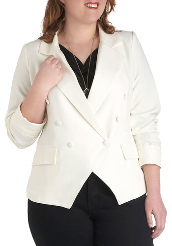 Cruise and Ahhs Blazer in Plus Size - White, Solid, Buttons, Pockets, Party, Work, Vintage Inspired, 80s, Long Sleeve