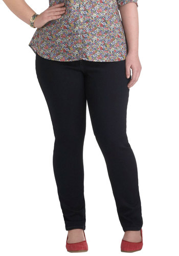 Chorus and Versatile Jeans in Dark Wash - Plus Size - Denim, Blue, Pockets, Casual, Skinny, Fall