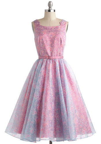 Belle of the Ball Gown by Bettie Page - Long, Pink, Purple, Floral, Belted, Formal, Vintage Inspired, 50s, Luxe, Fit & Flare, Sleeveless, Fairytale, Pastel, Spring, Prom, Ballerina / Tutu