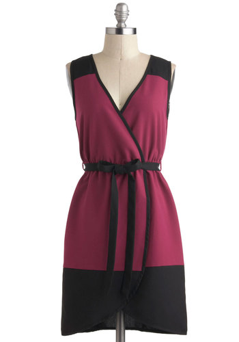 Blackberry Season Dress - Pink, Black, Belted, Casual, Colorblocking, A-line, Sleeveless, V Neck, Short, Work