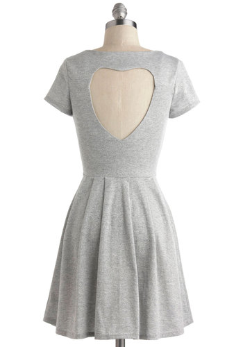 Moonage Day Gleam Dress - Grey, Solid, Cutout, Pleats, Casual, A-line, Sleeveless, Scoop