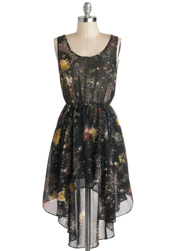 Moon Rock Concert Dress - Black, Multi, Sheer, Short, Print, High-Low Hem, Sleeveless, Casual, Scoop