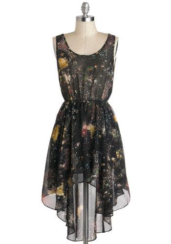 Moon Rock Concert Dress - Black, Multi, Sheer, Short, Print, High-Low Hem, Sleeveless, Casual, Scoop