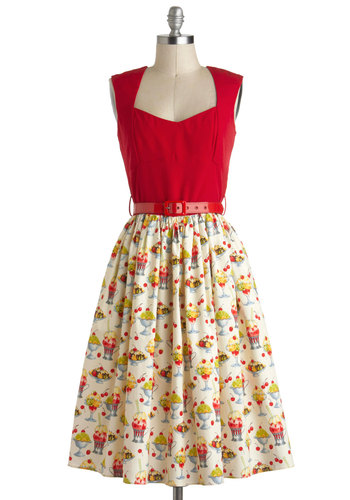 I'm All Cheers Dress in Sundae Best by Bernie Dexter - Novelty Print, Belted, Twofer, Fit & Flare, Cotton, Long, Tan / Cream, Multi, Casual, Vintage Inspired, 50s, Sleeveless, Multi, Red, Rockabilly, Variation, Pinup