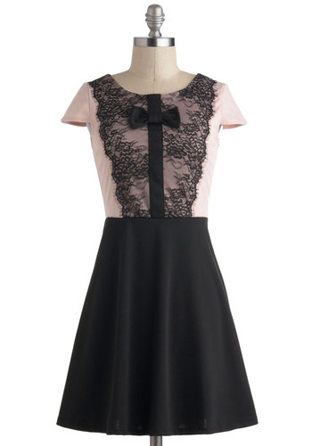 Pretty In Sync Dress - Short, Pink, Black, Bows, Lace, Party, A-line, Cap Sleeves, Vintage Inspired, 20s
