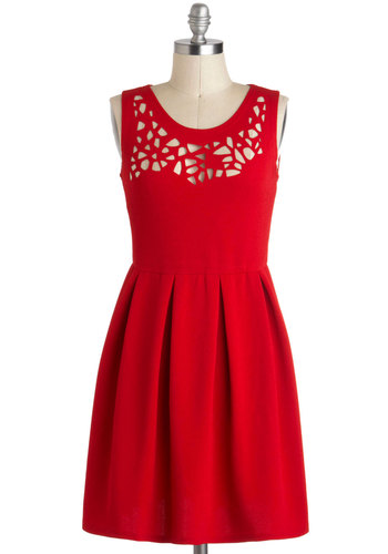 Clipping Garland Dress - Solid, Cutout, Short, Red, Pleats, Party, A-line, Sleeveless
