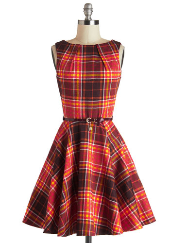 Luck Be a Lady Dress in Autumn Plaid - Fit & Flare, Cotton, Mid-length, Brown, Multi, Plaid, Exposed zipper, Pockets, Belted, Sleeveless, Fall, Tis the Season Sale, Variation