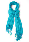 Crinkle in Time Scarf in Aqua - Blue, Solid, Fringed, Minimal, Variation