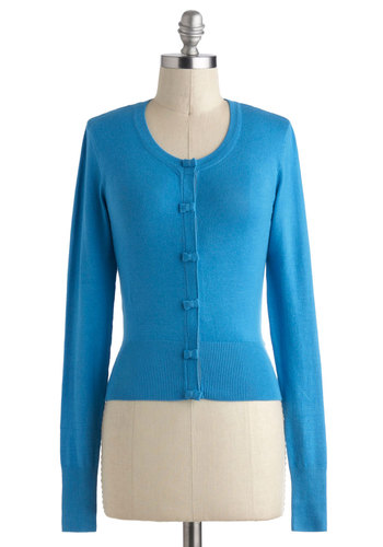 Somewhere to Bow Cardigan in Blue by Louche - International Designer, Short, Blue, Solid, Bows, Buttons, Long Sleeve, Work, Casual, Vintage Inspired
