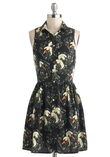 Paddle the Pond Dress - Black, Multi, Print with Animals, Casual, A-line, Green, Tan / Cream, Buttons, Pleats, Shirt Dress, Sleeveless, Collared, Short