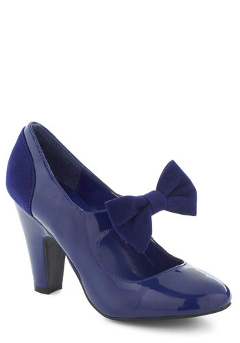 Toe-Tapping Attitude Heel - Blue, Solid, Bows, Special Occasion, Faux Leather, Mid, Vintage Inspired