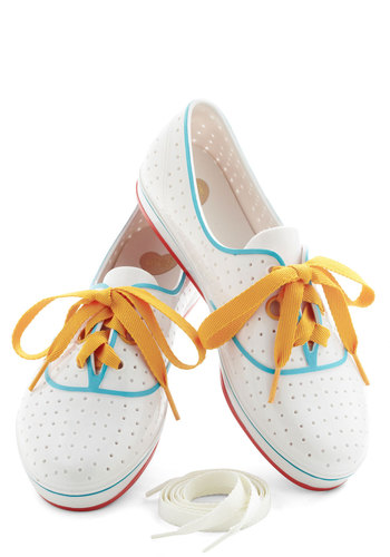 We'll Have a Wiffle Ball Sneaker by Mel Shoes - Flat, White, Multi, Lace Up, Casual, Beach/Resort, Vintage Inspired, 80s, International Designer, Variation