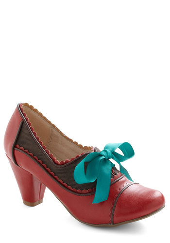 Notch Your Step Heel in Crimson by Chelsea Crew - Mid, Red, Blue, Brown, Scallops, Vintage Inspired, 20s, 30s, Lace Up, Variation, 60s, Leather, Winter