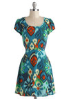 Ikat Got Your Fun Dress - Short, Blue, Multi, Print, Casual, A-line, Short Sleeves