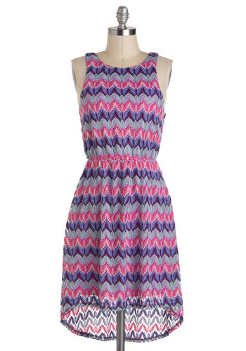 Foliage Festivity Dress - Print, Casual, A-line, Tank top (2 thick straps), Mid-length, Blue, Pink, High-Low Hem, Purple, Backless, Crochet, Chevron