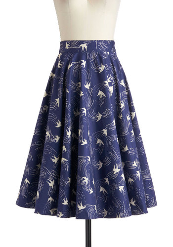 Twirling Through Town Skirt in Birds by Emily and Fin - International Designer, Blue, Print with Animals, A-line, Work, Casual, Vintage Inspired, 50s, Cotton, Long, Nautical, Pinup