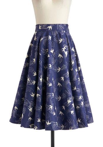 Twirling Through Town Skirt in Birds