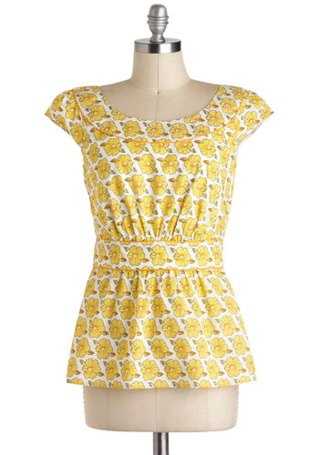 Cool with Me Top in Yellow Floral by Emily and Fin - International Designer, Yellow, White, Floral, Casual, Cap Sleeves, Spring, Mid-length, Cotton, Variation, Summer