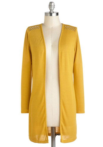 Banana-glams Cardigan - Yellow, Solid, Studs, Urban, Long Sleeve, Casual, Winter, Travel