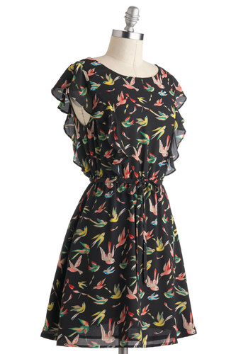 Lovely Little Birds Dress - Black, Multi, Print with Animals, Pleats, Ruffles, Casual, A-line, Short, Red, Blue, Belted, Cap Sleeves