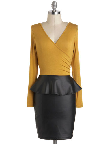 Bistro of Both Worlds Dress - Short, Yellow, Black, Backless, Ruching, Party, Bodycon / Bandage, Peplum, Long Sleeve, V Neck, Girls Night Out, Urban