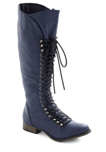 Follow the Cedar Boot in Stream - Blue, Solid, Ruching, Military, Lace Up, Low, Steampunk, Variation, Winter, Basic, Fall, Top Rated, Knee
