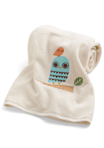 Owl Clean Bath Sheet - Cotton, Cream, Quirky, Owls, Good