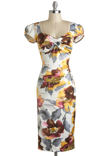 Watercolor Me Impressed Dress by Stop Staring! - Multi, Purple, Grey, White, Gold, Floral, Ruching, Shift, Cap Sleeves, Sweetheart, Pinup, Vintage Inspired, Cocktail, Spring, Long