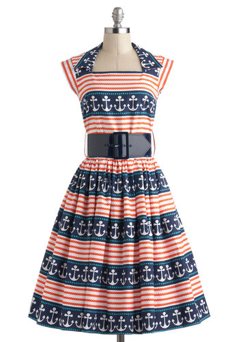 Anchors A-Sway Dress - Nautical, Cotton, Long, Multi, Red, Blue, White, Novelty Print, Pleats, Belted, Casual, Fit & Flare, Cap Sleeves, Pockets