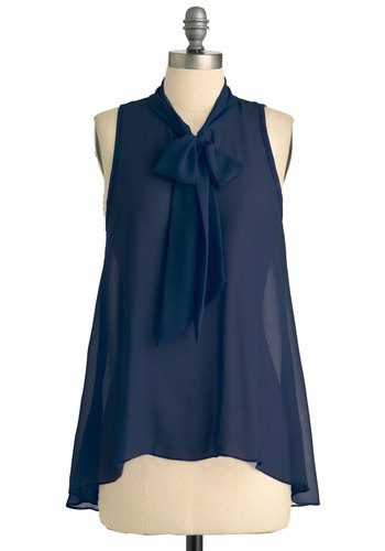 Sheer Style Top in Navy - Blue, Solid, Tie Neck, Work, Sleeveless, Sheer, Mid-length, Chiffon, Variation