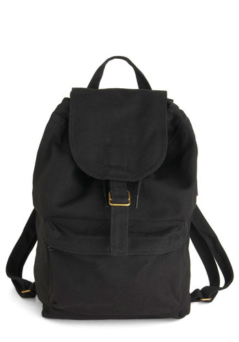 Canvassing Backpack in Campus - Black, Casual, Eco-Friendly, Travel, Scholastic/Collegiate, Summer