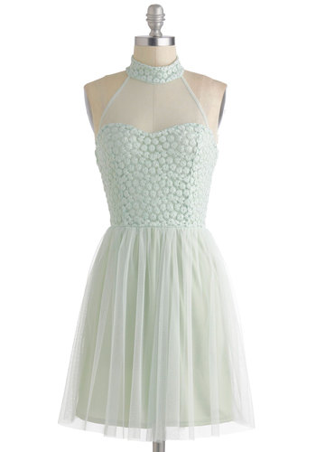 Tutu and From Dress - Sheer, Short, Mint, Solid, Backless, Party, Pastel, A-line, Ballerina / Tutu, Fairytale, Prom