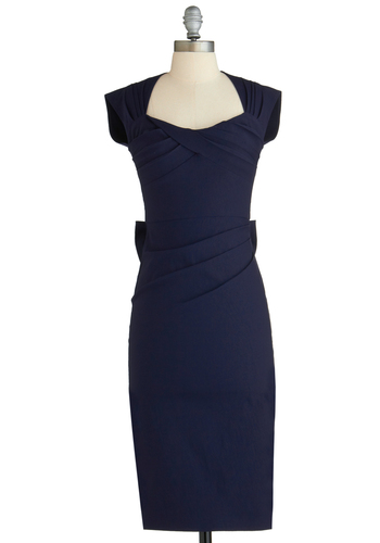 Salute to You Dress by Stop Staring! - Long, Blue, Solid, Bows, Cutout, Pleats, Sheath / Shift, Cap Sleeves, Cocktail, Exclusives, Nautical
