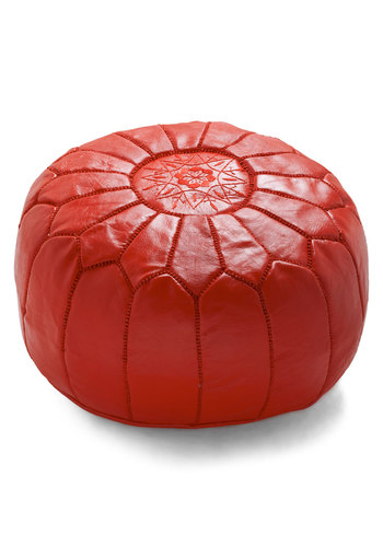 Get it Bright Pouf in Red by Karma Living - Leather, Red, Boho, Dorm Decor, Vintage Inspired