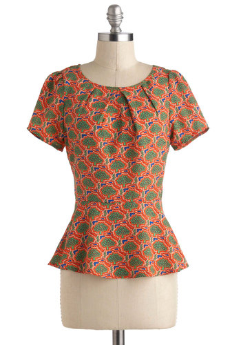 Up in the Tee Tops - Orange, Green, Novelty Print, Short Sleeves, Spring, Mid-length, Work, Orange, Short Sleeve