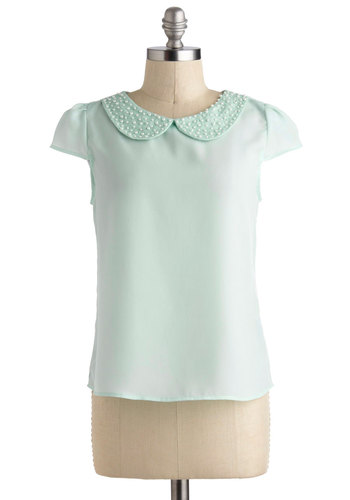 Pearly-cue Top - Green, Solid, Pearls, Peter Pan Collar, Daytime Party, Cap Sleeves, Mid-length, Pastel, Mint, Gifts Sale