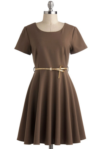 Piping Haute Dress - Solid, Belted, A-line, Short Sleeves, Mid-length, Brown, Work