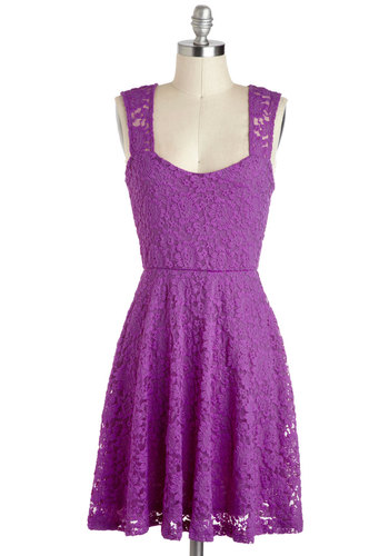 Can't Go Rung Dress - Sheer, Mid-length, Purple, Solid, Lace, Party, A-line, Tank top (2 thick straps), Backless, Summer, Gifts Sale, Lace